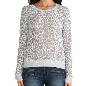 Sweaters - NWT Cheatah burn out Crewneck Sweater Gray Medium